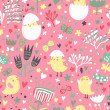 Easter concept seamless pattern. Cute small chickens in flowers. Seamless pattern can be used for wallpaper, pattern fills, web page backgrounds, surface textures. — Stock Vector