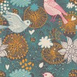 Stylish floral seamless pattern. Vintage birds in flowers. Seamless pattern can be used for wallpapers, pattern fills, web page backgrounds, surface textures. — Stock Vector