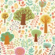 Royalty-Free Stock Vector Image: Bright nature seamless pattern in cartoon style. Trees and flowers - romantic spring background in vector
