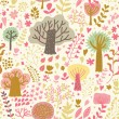 Bright nature seamless pattern in cartoon style. Trees and flowers - romantic spring background in vector - Stock Vector