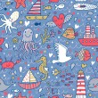 Marine concept seamless pattern. Seagull, whale, squid, octopus, boat, lighthouse and other nautical elements. Seamless pattern can be used for wallpaper, pattern fills, web page backgrounds. — Stok Vektör