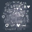 Vector de stock : Blackboard romantic set in vector. Cartoon love symbols in vintage style