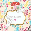 Cartoon vector background. Cute wallpaper with funny white rabbits, mushrooms and flowers. Romantic colorful card — Stok Vektör