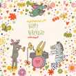 Stock Vector: Cartoon funny deer , rabbit and zebrhappy birthday. Nice holiday card in vector
