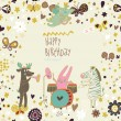 Cartoon funny deer , rabbit and zebra happy birthday. Nice holiday card in vector — Stock Vector