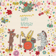 Cartoon funny deer , rabbit and zebra happy birthday. Nice holiday card in vector - Stock Vector