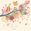 Spring concept illustration. Cartoon bird on branch in flowers. Floral spring background in vector. Can be used as wedding invitation — Imagen vectorial