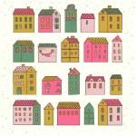 Nice cartoon houses in vector. Cute living set in pink colors — Stock Vector #25058325