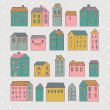 Nice cartoon houses in vector. Cute living set in pink colors — Vettoriali Stock