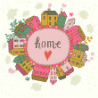 Home concept illustration. Cartoon houses on concept Earth. Romantic vector card — Stok Vektör