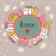 Home concept illustration. Cartoon houses on concept Earth. Romantic vector card — ベクター素材ストック