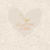 Fondo romántico floral brillante. concepto de amor en el vector. corazón de flores — Vector de stock