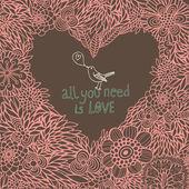 Parlak çiçek romantik arka plan. vektör kavram seviyorum. çiçeklerden yapılan kalp — Stok Vektör