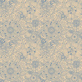 Vintage floral seamless pattern in retro colors — Stock Vector