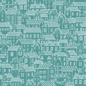 City view. Vector seamless pattern for cute urban wallpapers — Stock Vector