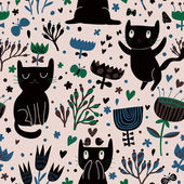 Romantic cartoon wallpaper. Childish background with funny cats and flower. Seamless pattern can be used for wallpapers, pattern fills, web page backgrounds, surface textures. — Stock Vector