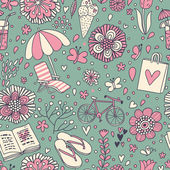 Vintage seamless pattern with cute cartoon elements. Seamless pattern can be used for wallpaper, pattern fills, web page backgrounds, surface textures. — Stock Vector