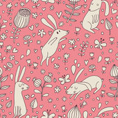 Rabbits on flower meadow. Cartoon seamless pattern with nice cute hares in vector. — Stock Vector