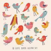 Cute birds in vector. Cartoon set — Stock Vector