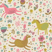 Childish cartoon seamless pattern funny horses in flowers. Seamless pattern can be used for wallpapers, pattern fills, web page backgrounds, surface textures. — Stock Vector