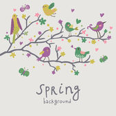 Spring background. Stylish illustration in vector. Cute birds on branches. Light romantic card. Can be used for wedding invitation. — Stock Vector