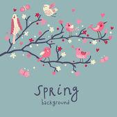 Fondo de primavera. ilustración con estilo en el vector. lindos pájaros en las ramas. tarjeta romántica luz. puede ser utilizado para la invitación de la boda. — Vector de stock