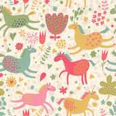 Joyful horses on flower field. Cute cartoon seamless pattern — Stock Vector