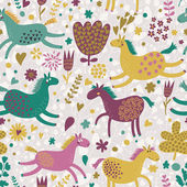 Joyful horses on flower field. Cute cartoon seamless pattern — Stock Vector
