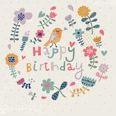 Carte de voeux de belle joyeux anniversaire avec des fleurs et des oiseaux. invitation fête Vector avec les éléments floraux. — Vecteur