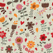 Cute seamless floral pattern. Copy square to the side and you'll get seamlessly tiling pattern which gives the resulting image ability to be repeated or tiled without visible seams. — Stock Vector