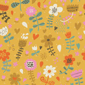 Cute seamless floral pattern. Copy square to the side and you'll get seamlessly tiling pattern which gives the resulting image ability to be repeated or tiled without visible seams. — Stockvector