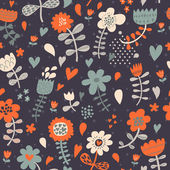Cute seamless floral pattern. Copy square to the side and you'll get seamlessly tiling pattern which gives the resulting image ability to be repeated or tiled without visible seams. — Vecteur