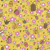 Spring meadow. Cartoon seamless pattern with bugs and flowers in vector — Stock Vector
