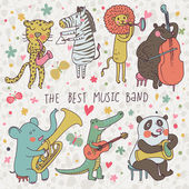 Animals - musicians. Leopard, zebra, panda, bear, lion, elephant, crocodile are playing on classical musical instruments. Cartoon vector set — Stok Vektör