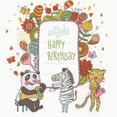 Cartoon funny panda, zebra and leopard congratulating happy birthday. Nice holiday card in vector — Stock Vector