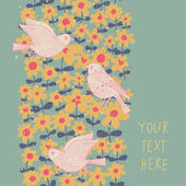 Spring seamless pattern in pastel colors. Birds in flowers vector background — Stok Vektör