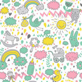 Concept baby's seamless pattern. Toys, children's clothes, animals in the sky. Best pattern for wrapping paper for babies — Stock Vector
