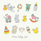Cute cartoon baby set. Toys, carriage, baby, stork in funny vector set — Stock Vector