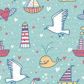 Морской концепции бесшовный фон. Кит, лодка, корабль, Маяк, Чайка в фоне смешной мультфильм в векторное — Cтоковый вектор