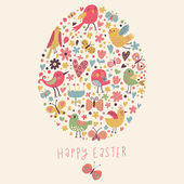 Easter concept card. Bright holiday background made of flowers, birds, hearts and butterflies in cartoon style in vector — Stock Vector