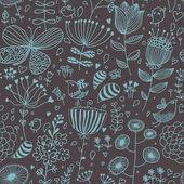 与卡通鸟的花卉背景。无缝模式 — 图库矢量图片