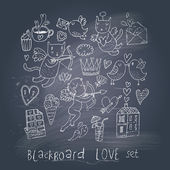 Romantic cartoon symbols on chalk board in EPS10 vector. Love concept with cupid, sweets, cat, birds and others — Stock Vector