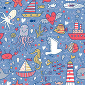 Marine concept seamless pattern. Seagull, whale, squid, octopus, boat, lighthouse and other nautical elements. Seamless pattern can be used for wallpaper, pattern fills, web page backgrounds. — Stock Vector