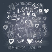 Blackboard romantic set in vector. Cartoon love symbols in vintage style — Stock Vector