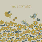 Bright spring background. Birds on floral meadow seamless pattern in vector — Cтоковый вектор