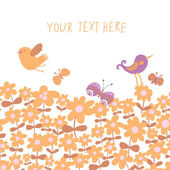 Bright spring background in orange colors. Birds on floral meadow seamless pattern in vector — Stockvektor