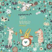 Cartoon funny deer , rabbit and zebra happy birthday. Nice holiday card in vector — Stock Vector