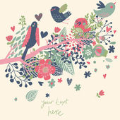 Spring concept illustration. Cartoon bird on branch in flowers. Floral spring background in vector. Can be used as wedding invitation — Stock Vector