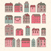 Nice cartoon houses in vector. Cute living set in pink colors — Stock Vector