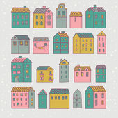 Nice cartoon houses in vector. Cute living set in pink colors — Stock Vector